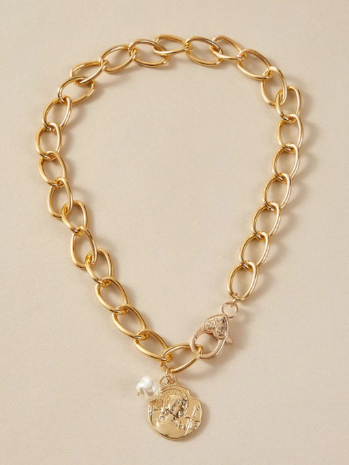 Pearl AND Coin Necklace Moxie