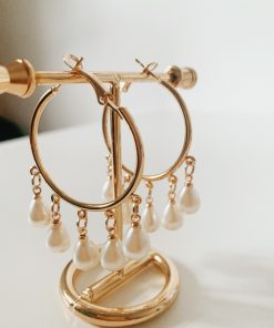 pearl fan earrings moxie