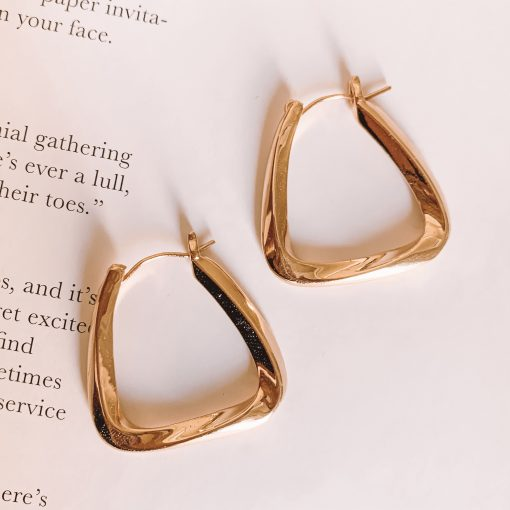 Brass Geometric Hoops Moxie Aruba