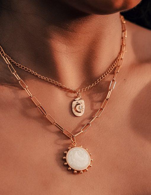 Crescent Moon & Sunburst Layered Necklace Muse