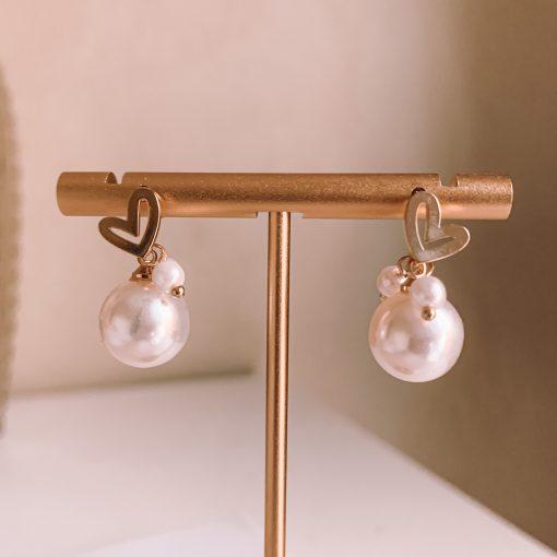 Pearl and heart earrings Moxie